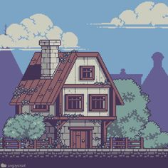 I love those medieval houses that had second floor that's bigger than the first. There was a city in Oblivion that was full of those kinda… Game Design, Arte 8 Bits, Pixel Art Background, Arte Indie, 8 Bit Art, Pix Art, Pixel Art Games, Medieval Houses, Game Concept Art
