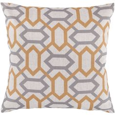 Linen-blend pillow with a geometric motif. Product: PillowConstruction Material: Linen-blend coverColor: Golden raisin, dove gray, and peach creamFeatures: Insert includedCleaning and Care: Blot stains Gold Pillows, Accent Pillows, Floor Pillows, Couch Pillows, Modern Curtains, China, Throw Pillow Covers, Decorative Throw Pillows, Decorative Accents