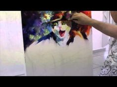 Leonid Afremov creating the painting Musician Cat - YouTube
