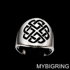 STERLING SILVER CELTIC LOVER'S SHIELD MEN'S BAND RING SAILOR KNOT BLACK ANY SIZE  | eBay