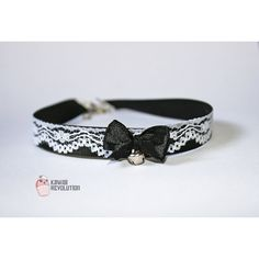 Choker Gothic Lolita Pastel Goth Black Collar Necklace with Lace... ($12) ❤ liked on Polyvore featuring jewelry, necklaces, ribbon choker necklace, lace choker, gothic choker necklace, gothic lace chokers and white necklace