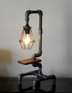 Industrial Pipe Art Desk Table Lamp with Wire Shade and Reclaimed Hardwood