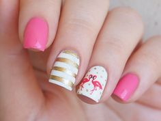 Pink flamingo nail water decals