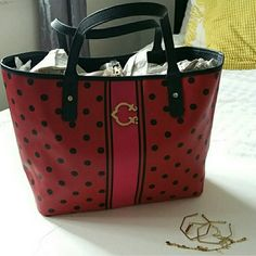 """Polka Dots/Stripes C.Wonder Tote Brand new without tags, in the last picture there is a crescent (bend) on the back The C. Is gold tone Inside is black  20"""" length on top, 14"""" length on the bottom, 12"""" height, 7"""" strap drop c. wonder Bags Totes"""