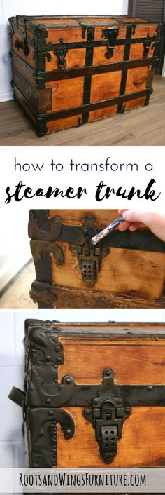 Completely refinish a steamer trunk inside and out with a few easy steps! By Jenni of Roots and Wings Furniture.