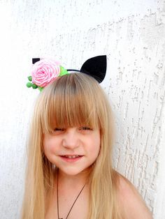 63be6e9473b3 Kitty ears Cat costume girl Baby flower crown Woodland party. Crazy Sport  Lovers