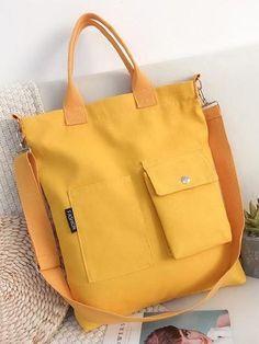 3 Colors With-pockets Canvas Handbag - rrdeye Sacs Design, Yellow Handbag, Canvas Handbags, Simple Bags, Fabric Bags, Cute Bags, Casual Bags, Canvas Leather, Handbag Accessories