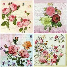 4x Single Party Paper Napkins for Decoupage Decopatch Craft Vintage Rose Mix