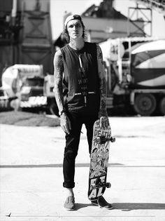 Tatz, flat brim, tank top, skateboarder