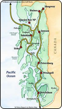 Alaska Marine Highway Inside Passage map