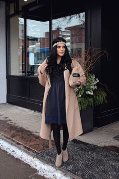 how to style a dress in wintertime