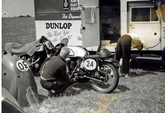In the paddock area at Chimay, Belgium 1956 Vintage Bicycles, Vintage Motorcycles, Cars And Motorcycles, Automobile, The Old Days, Classic Bikes, Road Racing, Sport Bikes, Motorbikes