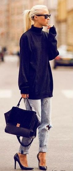 denim and black |  oversized sweater + ripped jeans + bag + heels