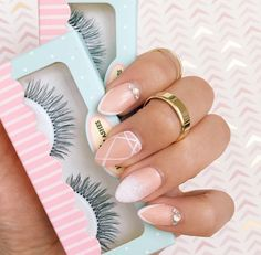 Cute simple designs on almond nails