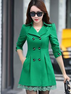 Especially Female Casual Long Coats Spring Autumn Women Trench coats Double  Breasted Windbreakers Lace Slim Waist Outwear cb8025fab5b1
