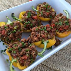 Clean Eating Sloppy Joe Stuffed Peppers/ used green bell peppers with chopped red bell pepper. Can top with cheeseXXXXX Clean Eating Sloppy Joe Stuffed Peppers/ used green bell peppers with chopped red bell pepper. Can top with cheese Sloppy Joe, Paleo Recipes, Real Food Recipes, Cooking Recipes, Paleo Food, Healthy Food, Yummy Food, Clean Eating Recipes, Healthy Eating
