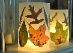 Super simple lanterns you can make for almost nothing! The real fall leaves from your yard give it a little something extra.