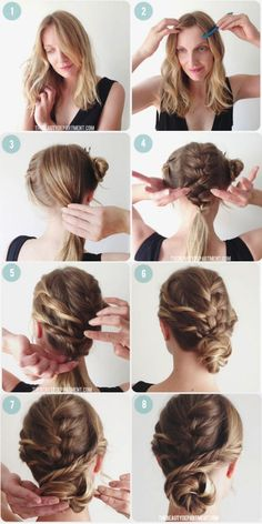 updos for shoulder length hair ideas Braided Hairstyles Tutorials, Easy Hairstyles, Hair Tutorials, Braids Tutorial Easy, Plait, Bun Braid, How To Curl Your Hair, Shoulder Length Hair, Crazy Hair
