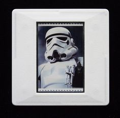 The Royal Mail released a set of special stamps featuring some of the characters, favourite droids, aliens and creatures of the Star Wars films. This 1st class stamp design shows a Stormtrooper. Clad in their white armour, Stormtroopers are the main ground force of the Galactic Empire.  This unique and handmade brooch is an eye-catching piece, ideal to wear at any Comic Con. The unused stamp is encased in a vintage slide mount, with glass, making this a unique piece of jewellery. True Colors, Colours, Presentation Cards, Star Wars Film, Brooches Handmade, Royal Mail, Design Show, Postage Stamps, Aliens