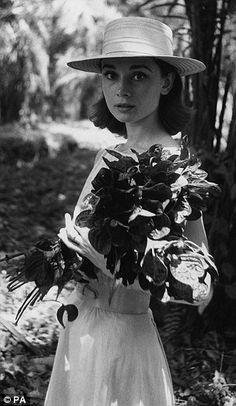 Career woman: A studio portrait taken in 1955 (left) and Hepburn on location in the Congo ...