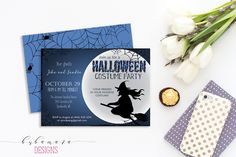 Printable Halloween Invitation Witch on Broom Halloween Party Invite Spider Webs…