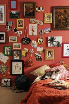 OBSESSED with this arrangement of photos and other knick-knacks and the color of this wall!  (via the Interior Styling group on Flickr; photographed by Engin Yildiz, styled by Gozde Eker)