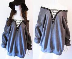 Grey Lace Up Sweatshirt Lace Up Top Lace Up Shirt S-XL