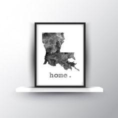 Louisiana Home digital download. Grey watercolor modern wall art. Gift idea wedd... - http://kitchenideas.tips/louisiana-home-digital-download-grey-watercolor-modern-wall-art-gift-idea-wedd/