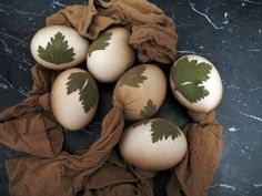 Decorated Easter eggs with leaves and natural dyes.