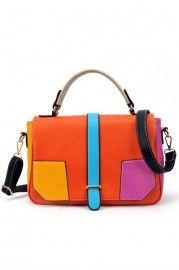 Distinctive Contrast Color Panel Handbag - Bags/Purses