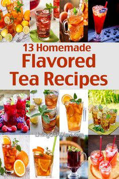 love them all-but would REMOVE SUGAR 13 Homemade Flavored Tea Recipes (~ 3 lemons should produce cup of lemon juice) Homemade Iced Tea, Homemade Smoothies, Best Iced Tea Recipe, Homemade Lemonade, Healthy Drinks, Healthy Recipes, Iced Tea Recipes, Fruit Tea Recipes, Eating Clean