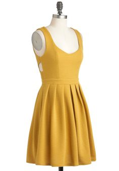 Amber Champion Dress - Mid-length, Yellow, Stripes, Cutout, Exposed zipper, Casual, A-line, Tank top (2 thick straps), Fall