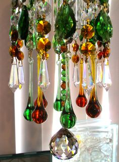 Chandelier Crystal Prism Wind Chime  Amber by YourCrystalDream, $139.99