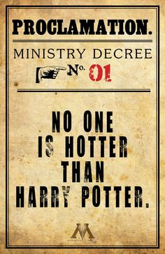 Inspired by Professor Dolores Umbridge's insane proclamations during her brief stint as Hogwarts' High Inquisitor, this print features a proclamation of a different kind: No one's hotter than Harry Potter. Agree or disagree? #harrypotter