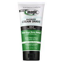 Magic Shave Cream Shave, Mild-6 oz by Magic Shave. $3.13. A milder, no-mix fragrant razorless beard remover formulated.. To help prevent and eliminate razor bumps in Black men who are first time cream depilatory users or with light beards.. Magic Shave is the razorless hair-removal system for black men. The skin-conditioning formula features cocoa butter and natural oils for soft, smooth, bump-free skin. Magic Shave Cream Mild is formulated for sensitive skin with a s...