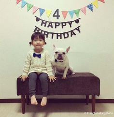 レノ4歳の誕生日🐶👧🏻 #frenchbulldog #フレンチブルドッグ #誕生日