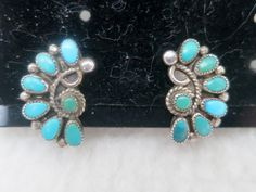 Signed AP Alvin Paquin Zuni Silver Sterling Turquoise Floral Clip On Earrings by Framarines on Etsy