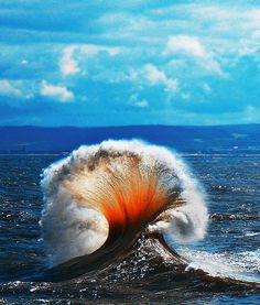 "wasbella102: ""Mushroom wave"" When waves collide. Wherever this photo was taken appears to have been experiencing a red tide event (which in some cases leads to bioluminescence"" Photo: Neil Wharton"