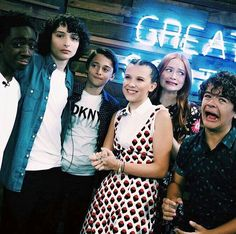 Stranger Things 2 cast. I love Gaten and Sadie's faces lol