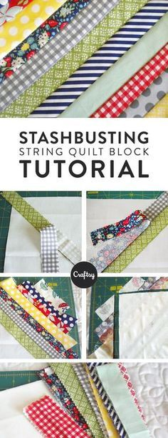 Follow this easy photo tutorial and learn how to sew your own string block quilt.