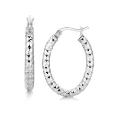 Sterling Silver Thick Hoop Diamond Cut Textured Earrings with Rhodium Plating