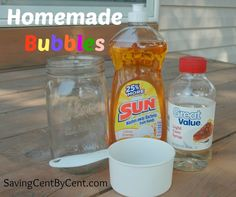 This Homemade Bubbles Recipe is so easy to put together. Plus, it makes great bubbles!