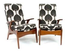 A pair of Florence Broadhurst upholstered vintage teak… - Seating - Single/Pairs of Chairs (all types) - Furniture - Carter's Price Guides to Antiques and Collectables Ercol Furniture, Retro Furniture, Striped Wallpaper Living Room, Florence Broadhurst, Antique Wallpaper, Patterned Chair, Black Dining Room Chairs, Upholstered Sofa, Trendy Wallpaper