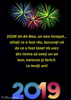 Felicitari de anul nou 2019 - La mulți ani! Happy New Year 2019, Happy B Day, An Nou Fericit, Happy Birthday, Motto, Roxy, Celebrities, Winter, Christmas