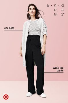If you need something that can get you from the office straight to dinner, look no further than a sleek-but-modern wide-leg pants. Wear A New Day's tie-waist pair with a tucked-in t-shirt and long coat for a clean, pulled-together effect that's perfect for work or weekends.