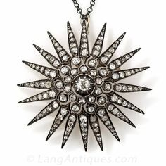 Large Victorian Style Diamond Starburst Brooch