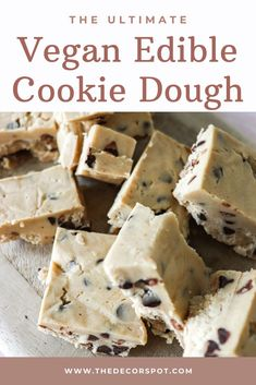 This Vegan Edible Chocolate Cookie Dough is the ultimate guilty pleasure. This simple easy dessert will cure any sweet tooth. Delicious Vegan Recipes, Vegan Desserts, Easy Desserts, Vegan Food, Edible Cookies, Edible Cookie Dough, Vegetarian Chocolate, Chocolate Recipes, Mini Cherry Cheesecakes