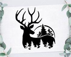 Hirsch Silhouette, Deer Silhouette, Silhouette Design, Deer Stencil, Stencils, Deer Vector, Tree Svg, Svg Files For Cricut, Tatoo