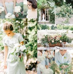 Grayed Jade Fresh Green Wedding Colors--For the bride who desires a soft green palette