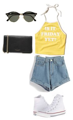 """""""Summer Day"""" by nabilagarcia ❤ liked on Polyvore featuring Hollister Co., Converse, Ray-Ban and Marc Jacobs"""